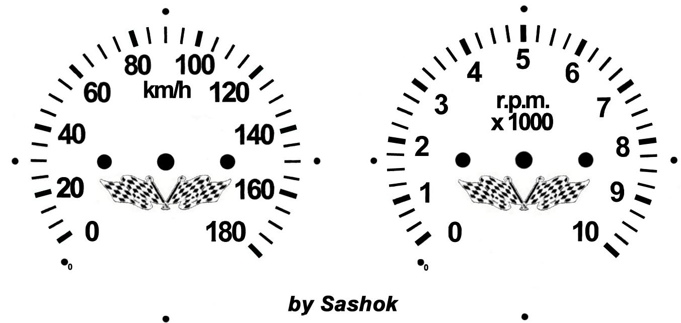 Шкалы спидометра и тахометра для мотоцикла Ява (Jawa) .